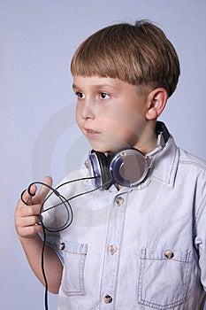Child with headphones Stock Photos