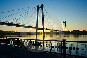 Suspension Bridge In Sunrise Free Stock Photos