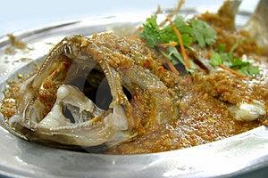 Gemberspaanse pepers gestoomde vissen Stock Foto