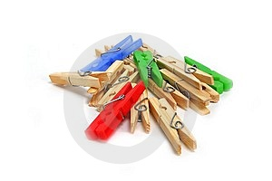 Multicolor Clothes Pegs Free Stock Image