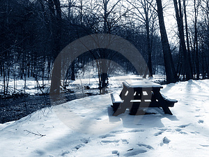 Picnic Table In The Snow, Blue Toned Stock Photography