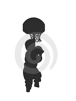 Silhoutted Boy Playin Basketball #2 Stock Photos