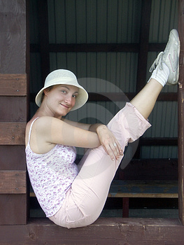 Girl In White Hat Free Stock Photos