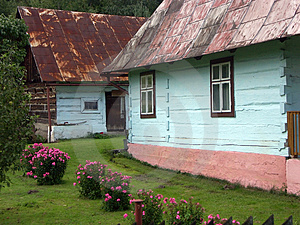 Blue-painted Cottages Stock Photo