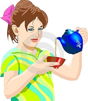 Girl pouring tea Stock Photo