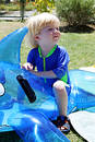 Young boy or child sitting on inflatable dolphin by swimming pool Royalty Free Stock Photo