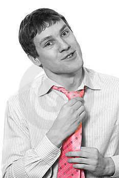 Monochrome picture of a young business man with a rose tie Royalty Free Stock Image