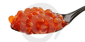 Spoon Of Red Caviar Stock Images - Image: 21000574
