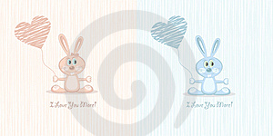 Two Love Rabbit (postcard), Illustration Royalty Free Stock Images - Image: 21001059