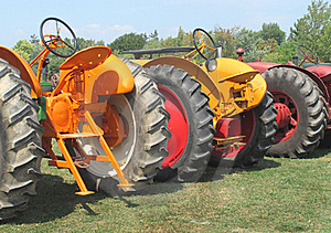 Three Farm Tractors From A Rear View Stock Images - Image: 21004354