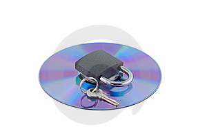 Padlock And Key On Cd Isolated. Stock Images - Image: 21004644