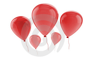 Five Red Balloons Stock Photo - Image: 21008160