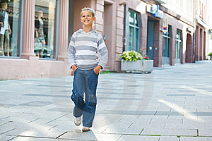 Little Tourists Walking In City. Stock Photography - Image: 21008422