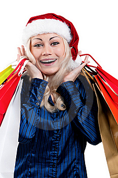 Christmas Woman With Shopping Bags Stock Photos - Image: 21009143