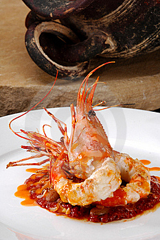 Plated Prawn Royalty Free Stock Photography - Image: 21010037