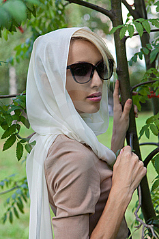 Woman In A White Scarf Stock Photos - Image: 21014323