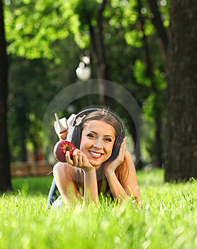 Woman With Headphones Royalty Free Stock Photo - Image: 21017965