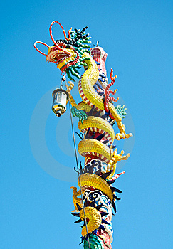 Dragon Style Chinese On Blue Sky , Lopburi , Thail Royalty Free Stock Photo - Image: 21019835