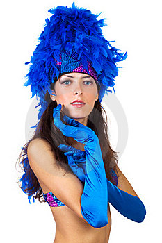 Girl In A Hat With Feathers Royalty Free Stock Images - Image: 21021759