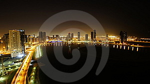 Night Seen Of Sharjah City On A Lake Royalty Free Stock Images - Image: 21021989