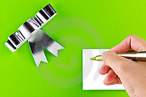 Green Gift With Hand Stock Photo - Image: 21022660