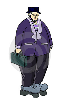 Old Fat Businesman Standing With Suitcase Stock Images - Image: 21036644