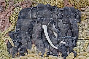 Elephant Sculptures. Royalty Free Stock Photos - Image: 21037588