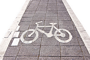 Bicycle Road Sing On White Isolate Stock Photo - Image: 21046280