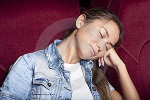 Woman Sleep In The Cinema Stock Photo - Image: 21053800