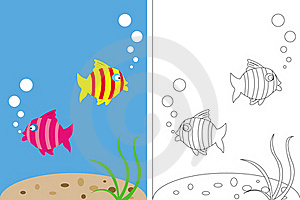 Coloring Page Book With Fish Underwater Stock Photography - Image: 21061492