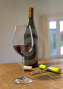 A Glass And Bottle Of Red Wine Royalty Free Stock Images - Image: 21062679