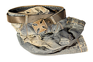 Blue Jeans With Old Black Leather Strap Royalty Free Stock Images - Image: 21065599
