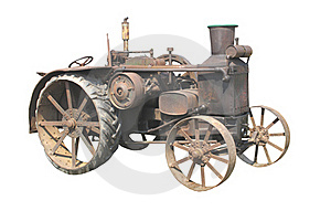 Old Rusty Tractor Isolated Stock Image - Image: 21065701