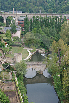 Medieval Bridge In Luxembourg Stock Photo - Image: 21065790