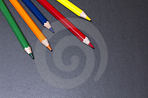 Color Pencils On Black Background Royalty Free Stock Photo - Image: 21090125