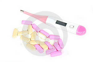 Digital Thermometer And Pills. Stock Images - Image: 21091074