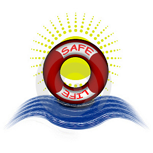 Life Buoy And Sun Stock Photo - Image: 21099910