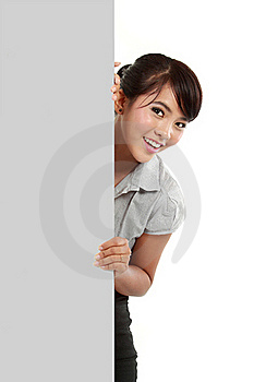 Business Woman Showing Blank Signboard Stock Photography - Image: 21099932