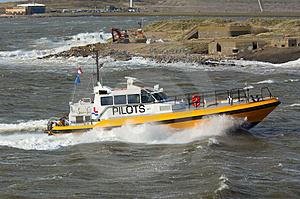 Pilot Boat In A Storm Stock Image - Image: 2117411