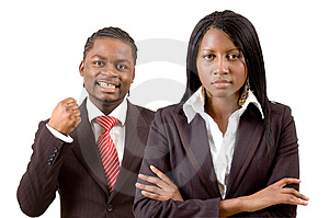 Questa è un'immagine di un felice uomo d'affari e un felice donna d'affari.