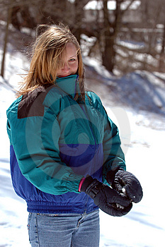 Teen Girl With Snowball Royalty Free Stock Image - Image: 2119016