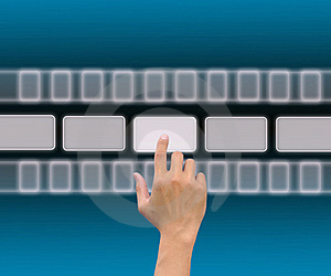Hand Pushing A Button On A Touch Screen Royalty Free Stock Image - Image: 21100156
