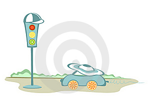 A Car And A Traffic-lights Royalty Free Stock Images - Image: 21100239