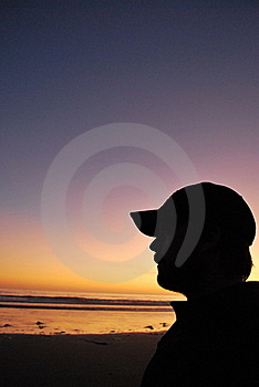 Silhouette At The Beach Royalty Free Stock Photo - Image: 21106785