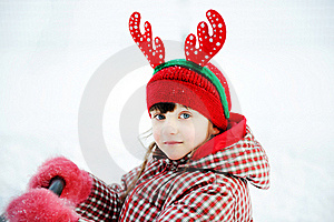 Portrait Of Adorable Child Girl In Horned Hat Royalty Free Stock Photo - Image: 21107005