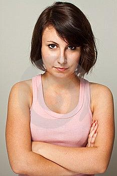 Portret Van Zekere Vrouw Royalty-vrije Stock Foto - Afbeelding: 21108485