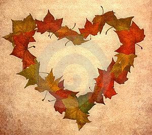 Fall Leaf Love Vintage Heart Stock Image - Image: 21108881