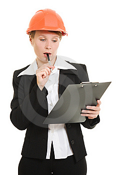 Thinking Businesswoman In A Helmet Royalty Free Stock Photo - Image: 21111805