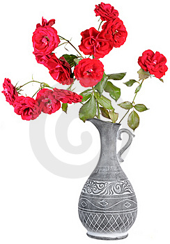 Red Roses In Jar Royalty Free Stock Photos - Image: 21120098