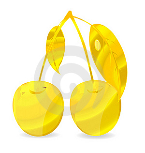 Shiny Gold Cherry Symbol Stock Image - Image: 21120471